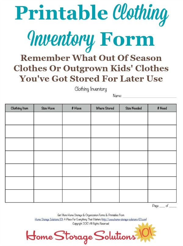 Printable Clothing Inventory Form Storing Kids Clothes Kids