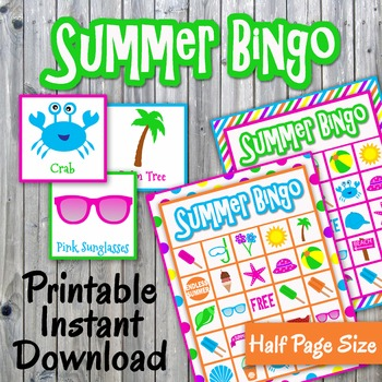 Summer Bingo Cards And Memory Game End Of Year Printable Up
