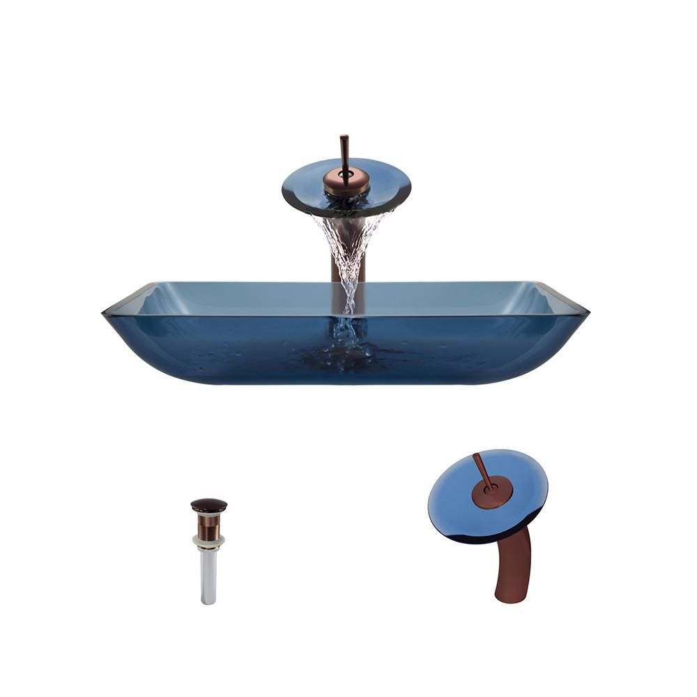 Mr Direct Gl Vessel Sink In Aqua Blue With Waterfall Faucet And Pop Up Drain Oil Rubbed Bronze