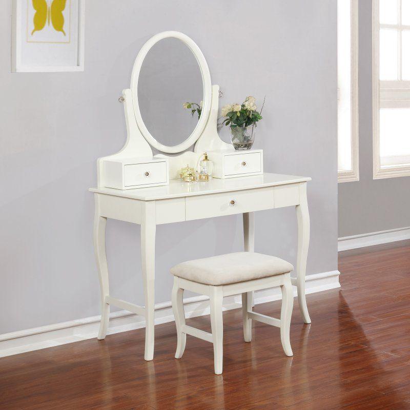 Linon April Ivory Vanity Set Vanity Small Vanity Table Vanity Set