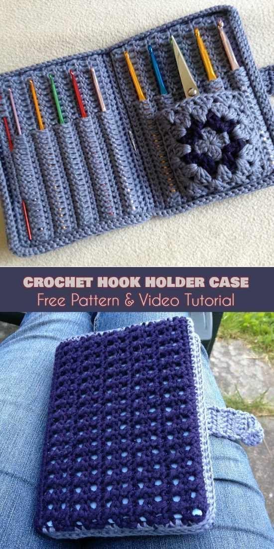 Crochet Hook Holder Case [Free Pattern and Video Tutorial]   Crochet ...