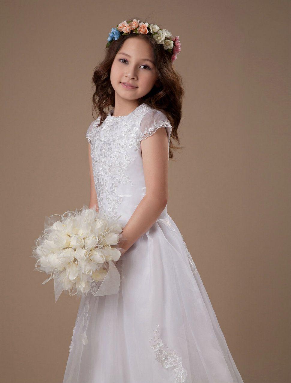 Bateau Sweep Train White Flower Girl Dress with Cap Sleeves@3.jpg ...