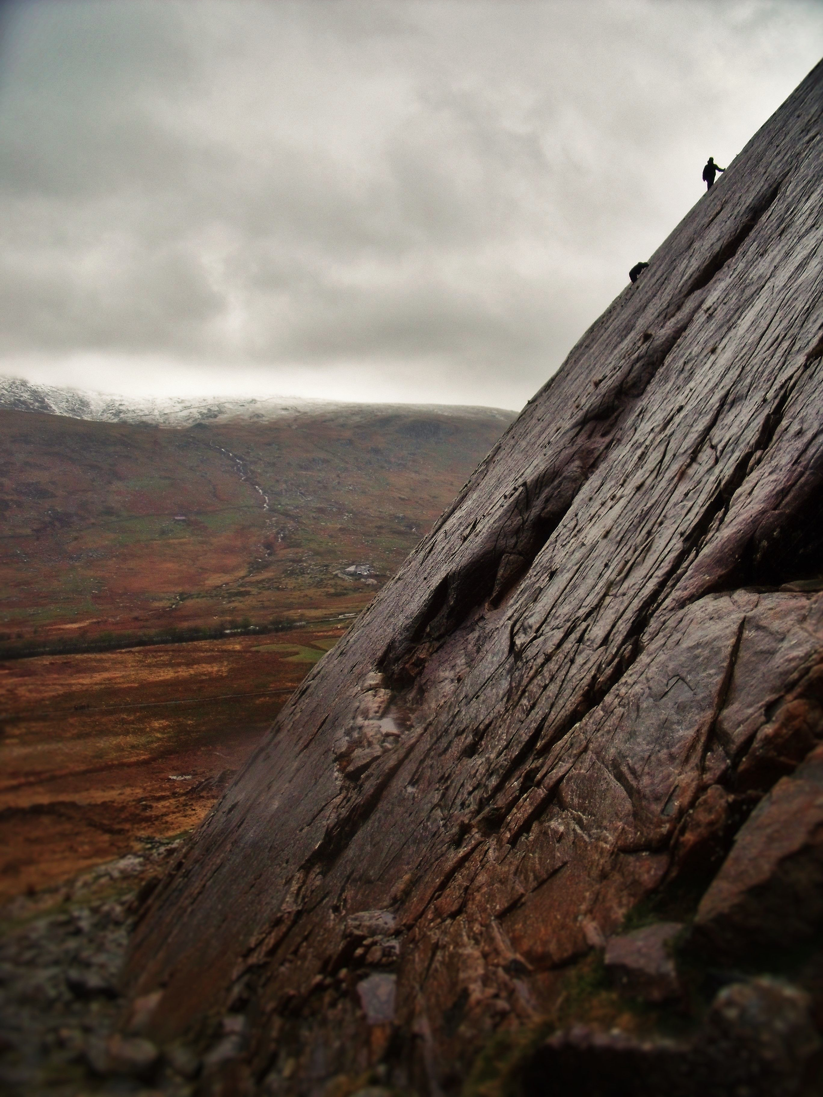 Phil and Johnny free climbing in the Glyderau Range