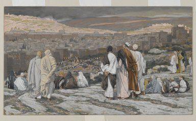 Brooklyn Museum: European Art: The Disciples Having Left Their Hiding Place Watch from Afar in Agony (Les disciples ayant quitté leur retraite assistent de loin au supplice)