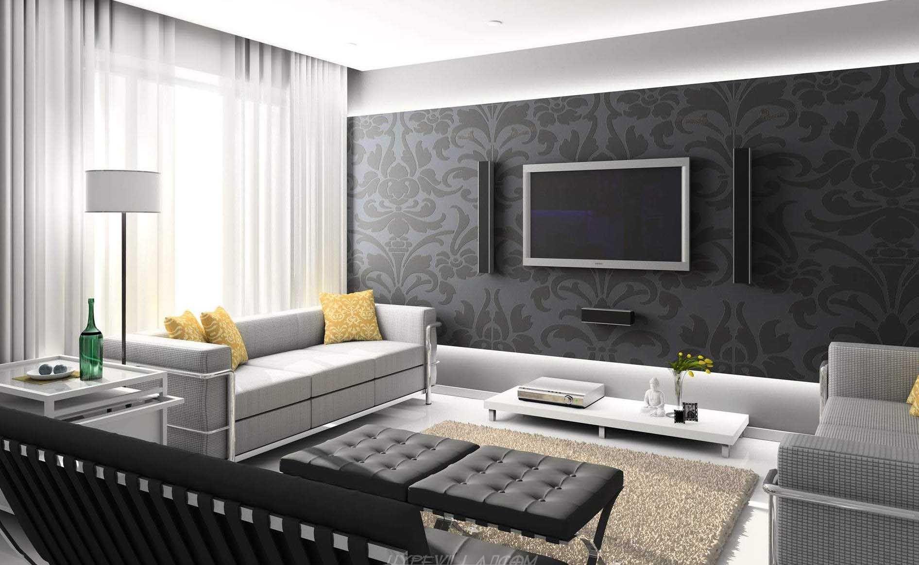 Mesmerize Urban Living Room Decorating Ideas: Elegant Urban Living Room  Design With Black Damask Wallpaper And White Lampshade Floor Lamp Also  Tufted Seat ...