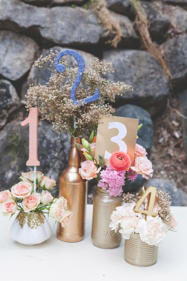 table number ideas #goldwedding #tablenumbers #weddingchicks http://www.weddingchicks.com/2013/12/23/elcectic-gold-wedding-ideas/