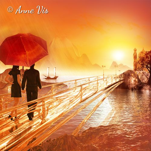 Bridge to Eternity - romantic painting with a couple under a red umbrella crossing a bridge ... #painting #art #spiritual #romantic