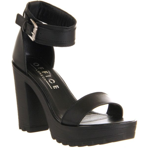 Office Jagged Cleated Sandal (15.590 HUF) ❤ liked on Polyvore featuring  shoes, sandals, black leather, high heels, women, ankle strap sandals,  leather ...