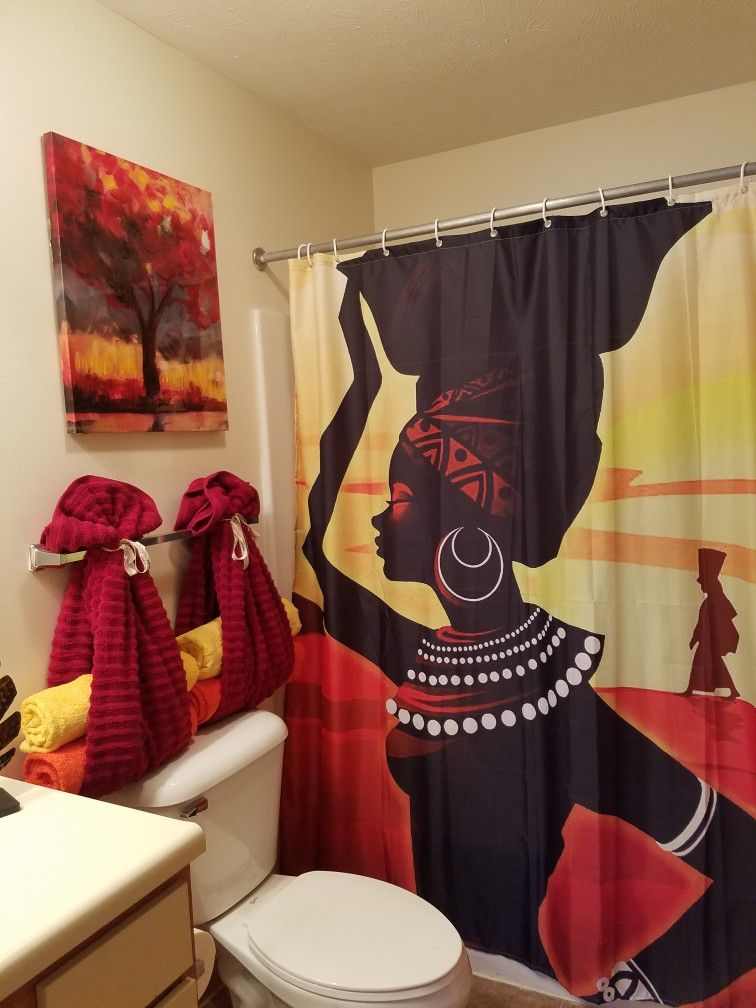 Where Can I Get The Shower Curtain I Need For My Bathroom Asap Bathroom Decor Apartment African Home Decor Restroom Decor