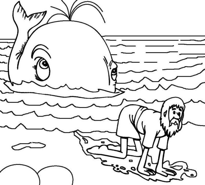 Jonah And The Whale Story Coloring Page Halaman Mewarnai Sekolah Minggu Warna