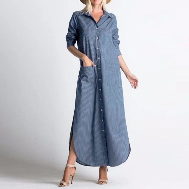 Plus Size Women Striped Long Sleeve Button Split Long Maxi Shirt Dress