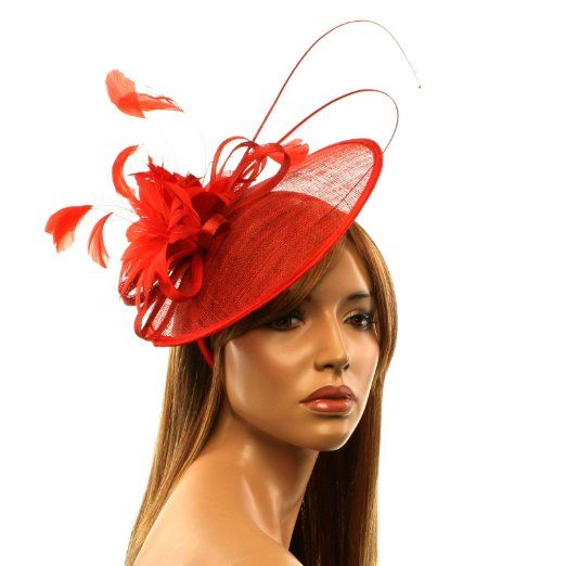 Amazon Com Handmade Feathers Floral Headband Fascinator Disc Millinery Cocktail Hat Red Clothing Cocktail Hat Floral Headbands Millinery