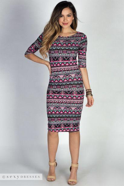Tribal Bodycon Midi Dress