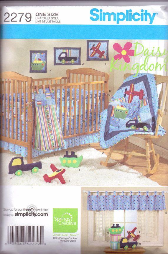 New Simplicity Pattern Baby Boy Nursery Bedding Set Quilt Bed Ruffle