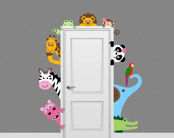 Jungle Safari Animal Decal Peeking Door Hugger Nursery Wall Decal On Etsy,  $68.27 CAD Part 61