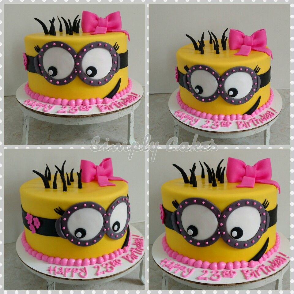 Girly minion birthday cake httpsmfacebookcomsimplycakes