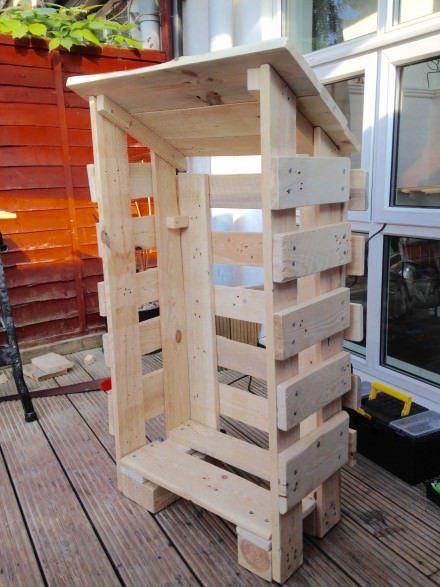 Small Log Store From Pallet Wood Projets En Bois De Palette Hangar A Bois Et Abri De Stockage