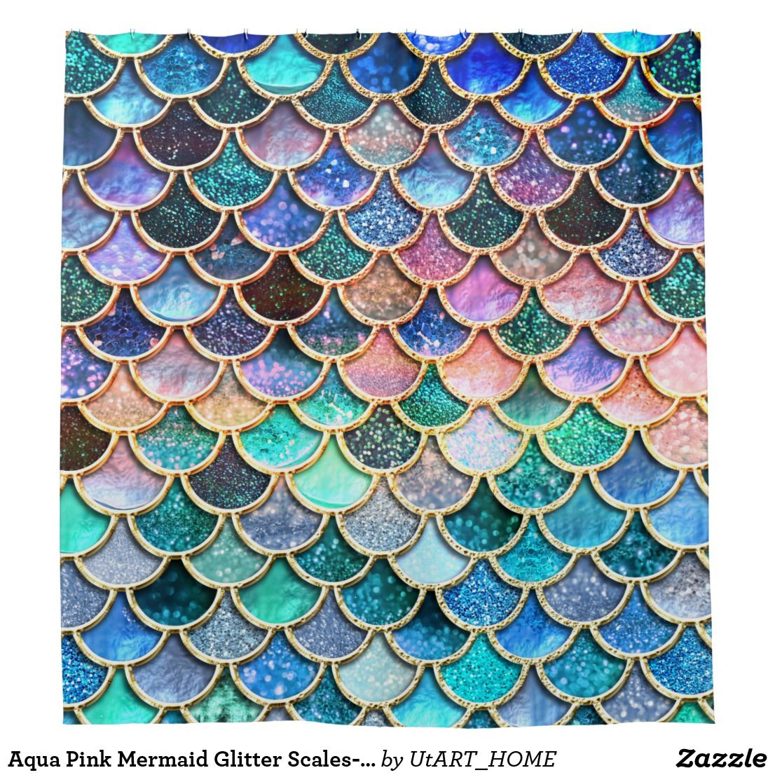 Aqua Pink Mermaid Glitter Scales Mermaid Scales Shower Curtain