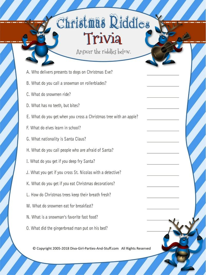 Christmas Riddles Trivia Game 2 Printable Versions with