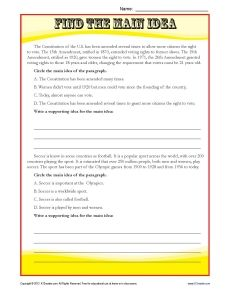 Middle School Main Idea Reading Passage Worksheet | Sixth ...