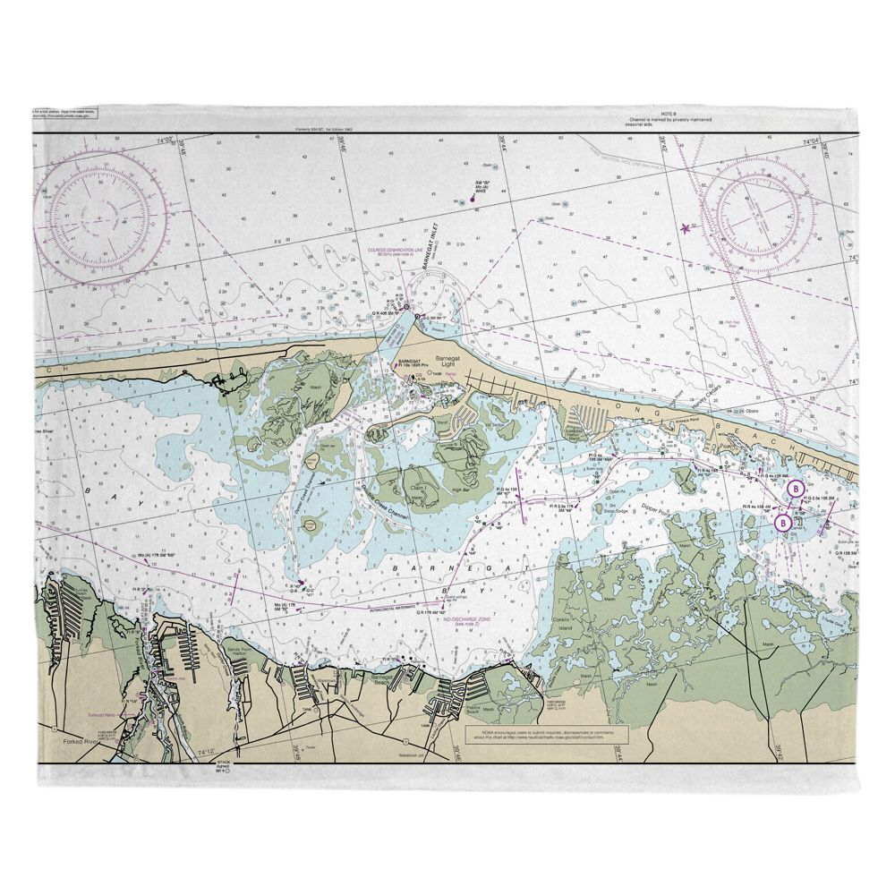 Nj Barnegat Light Nj Nautical Chart Blanket Nautical Chart