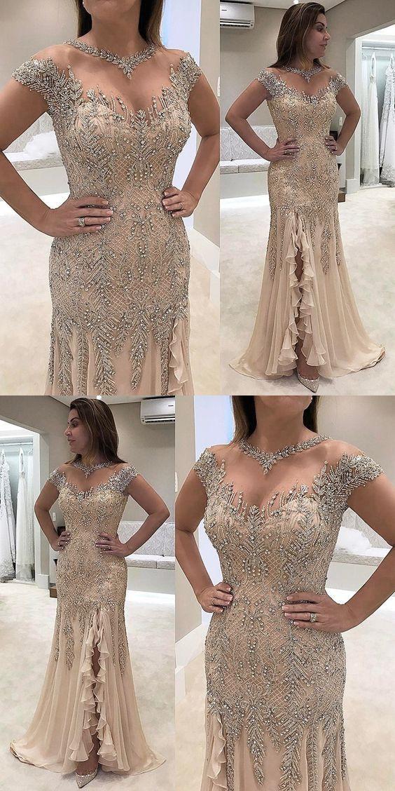 Sheath Prom Dresses Round Neck Prom Dresses Light Champagne Prom Dresses Chiffon Prom Dresses Bead Split Prom Dresses Champagne Prom Dress Elegant Prom Dresses