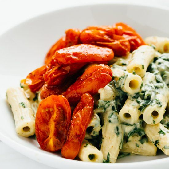 Zesty Vegan Cilantro Cream Pasta with Roasted Paprika Tomatoes