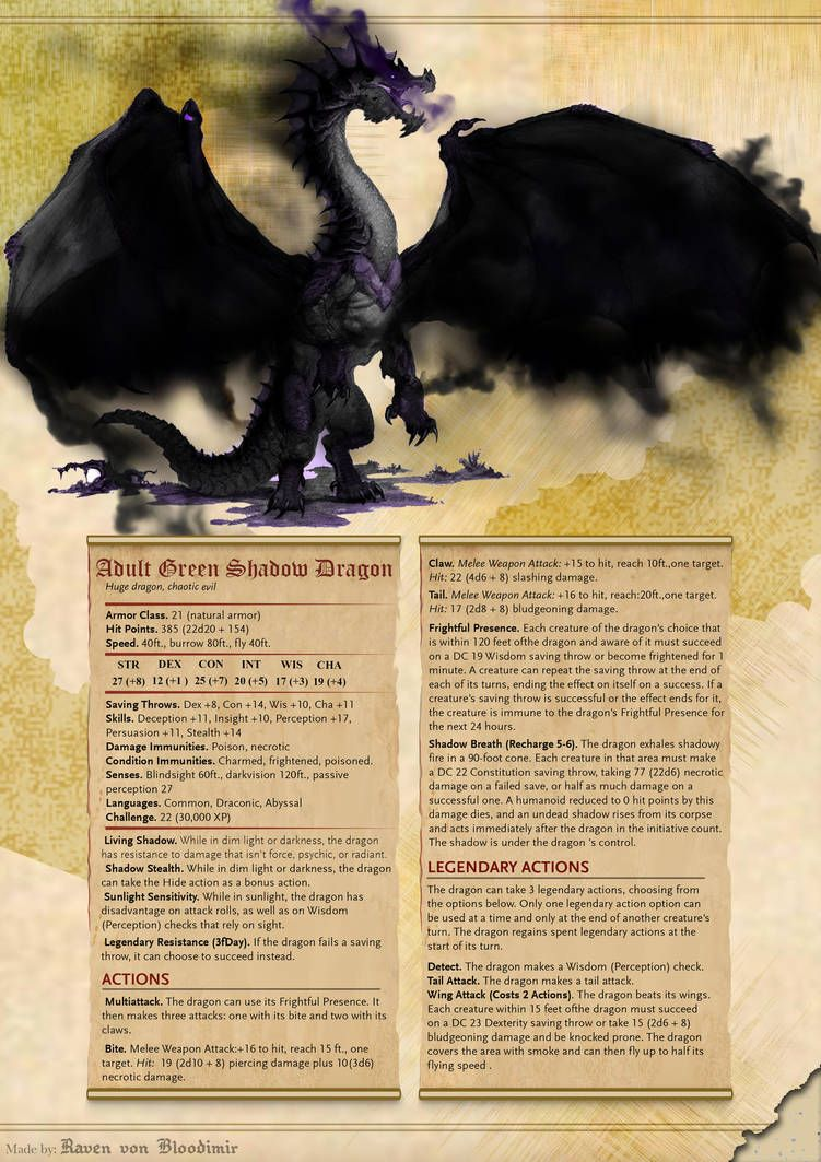 Adult Green Shadow Dragon 5E DnD by RavenVonBloodimir | dnd
