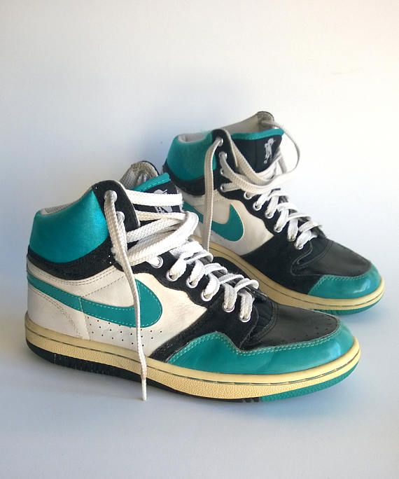 b6dd478a6 NIKE high top vintage sneakers, retro trainers, neon sport shoes ...