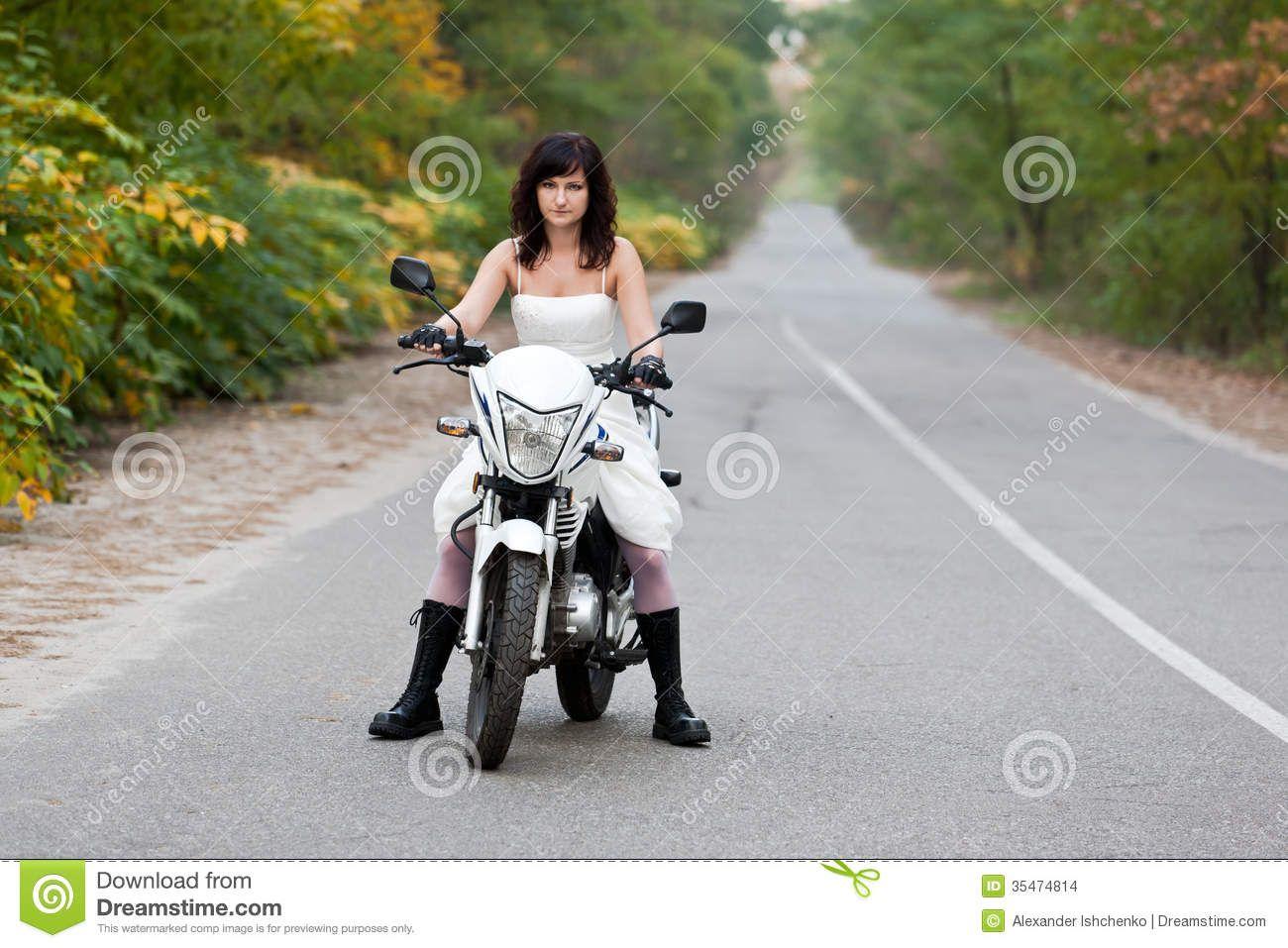 Biker Wedding Dresses Image With Bride In Wedding Dress On ...