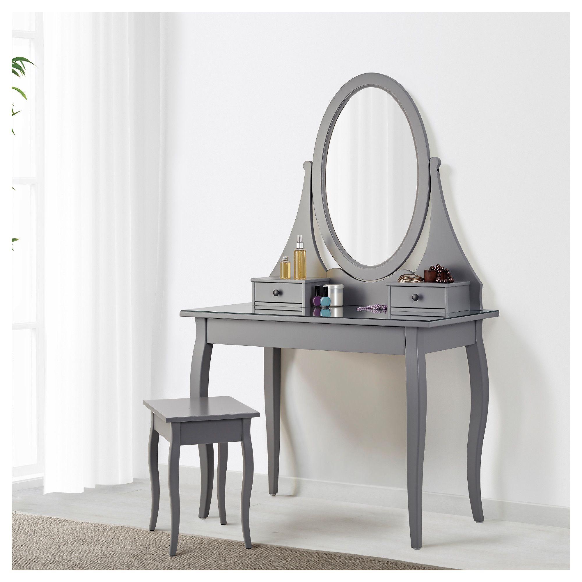 HEMNES Dressing table with mirror grey 100x50 cm