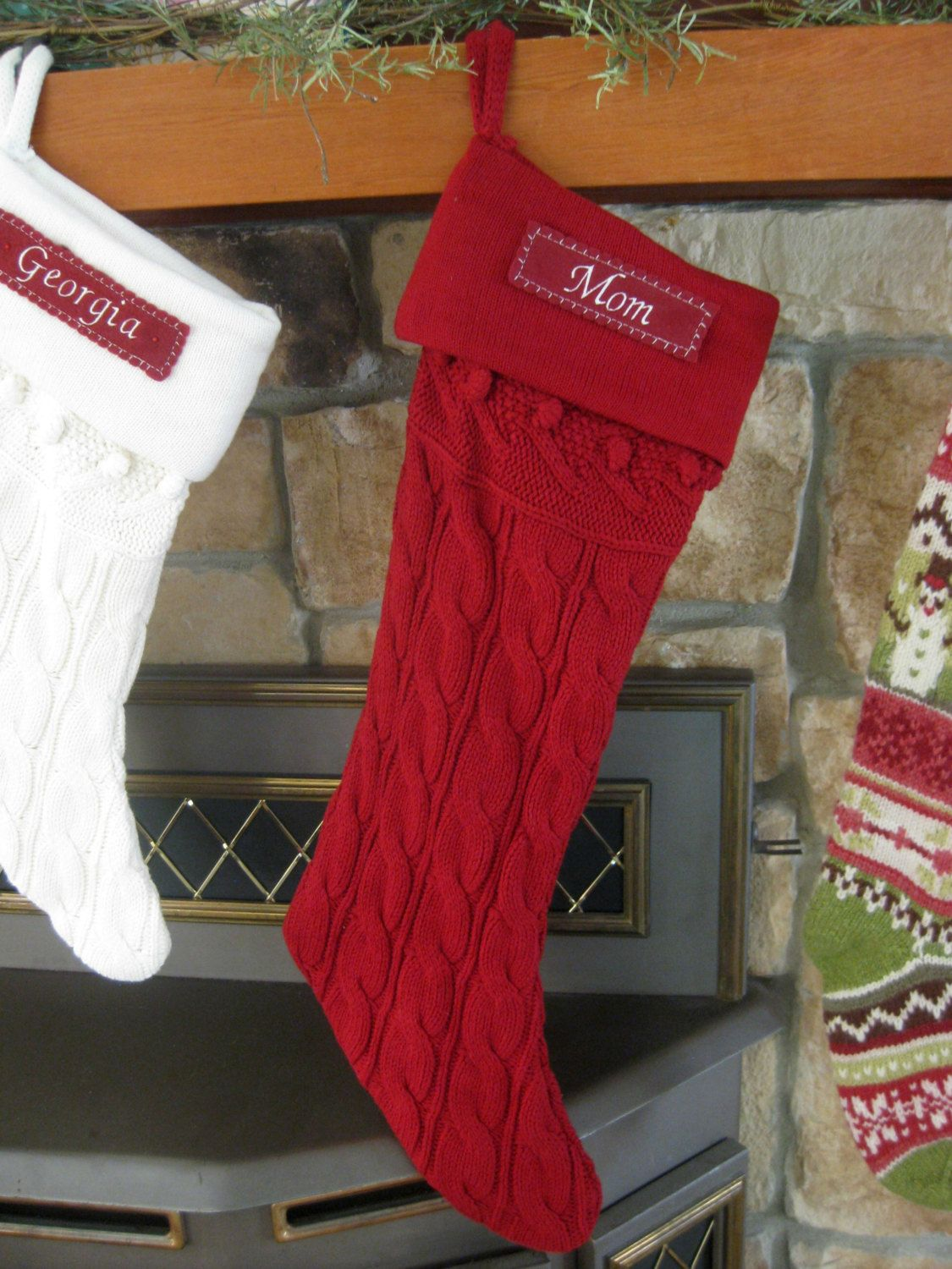 Cable Knit Stocking Pottery Barn Red Large By