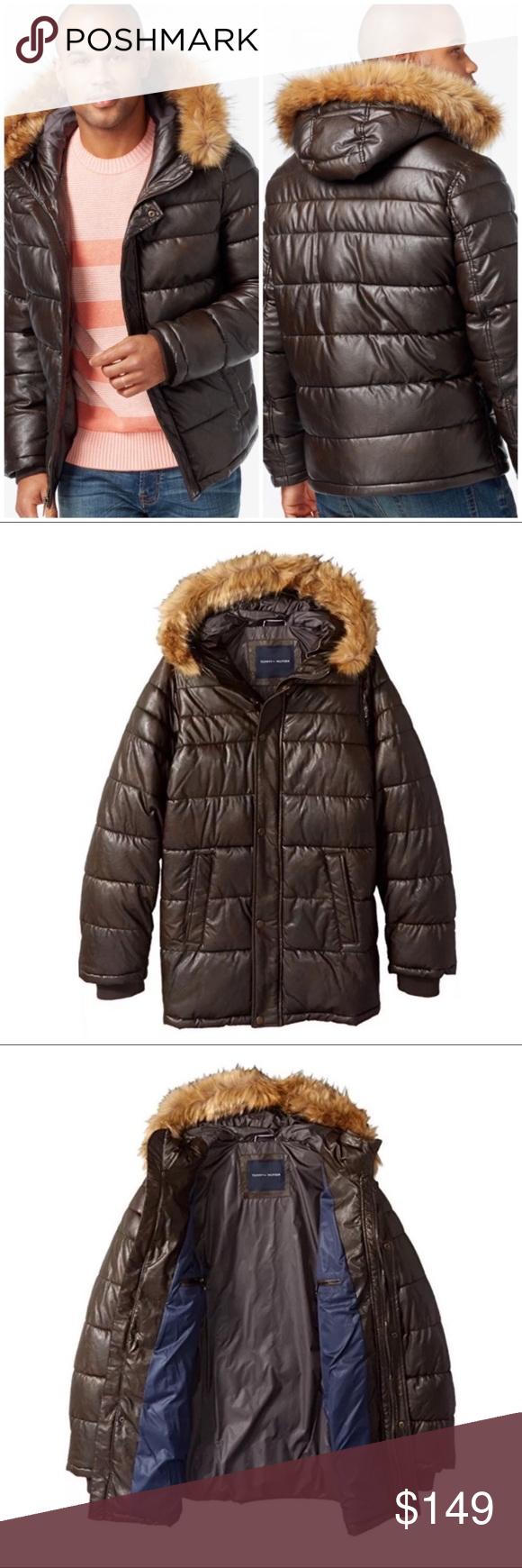 Tommy Hilfiger Leather Parka Winter Coat Fur Hood NWT