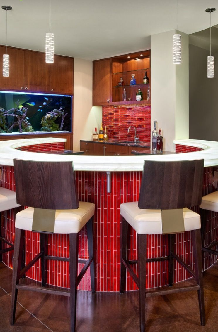 Home Bar Setup Modern Kitchen Sink Faucet Stanless Steel Pull Out Round Bar  Cushioned Barstools Aquarium Red Tiles Wooden And Glass Cabinet Of Dazzling  Home ...