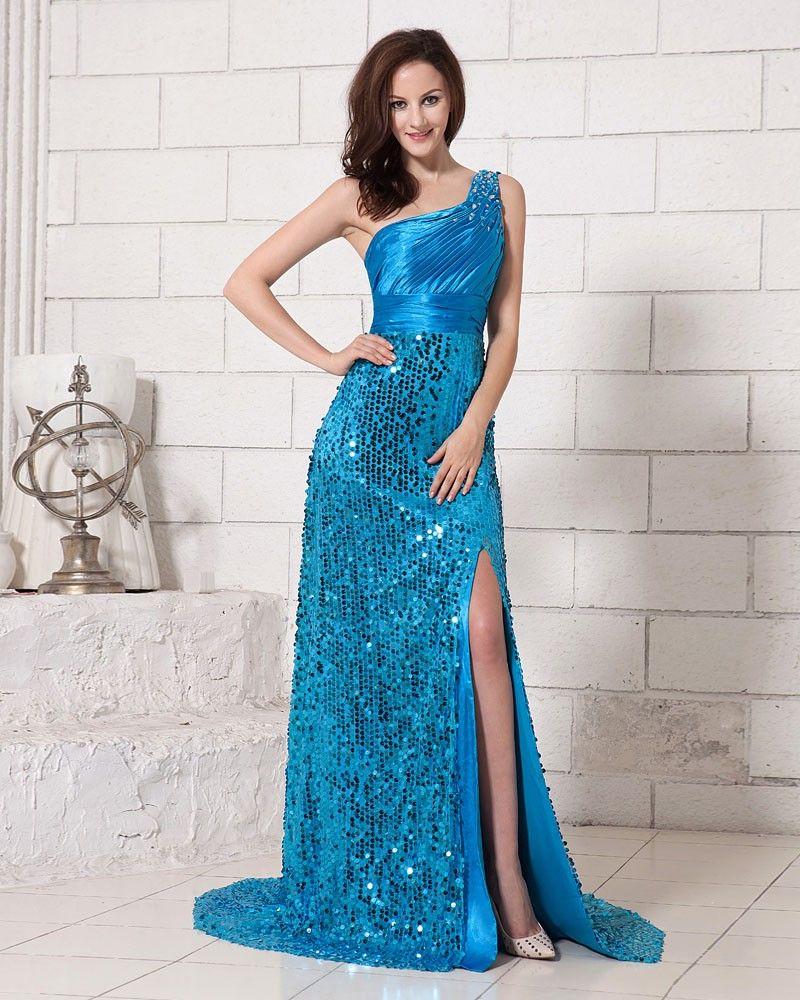 Elastic woven satin one shoulder long prom dress