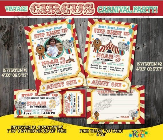 Circus Invitation Vintage Birthday First Carnival Party Invite 1st Birthd