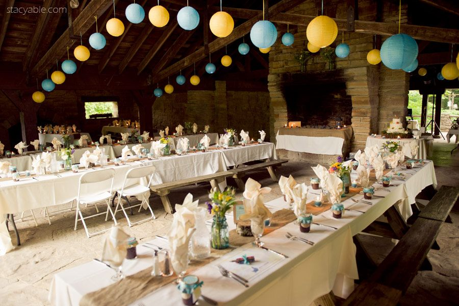 Indy Wedding Reception Decor Brown County State Park Indiana Lower Shelter Picnic  Tables Rustic Fireplace Paper