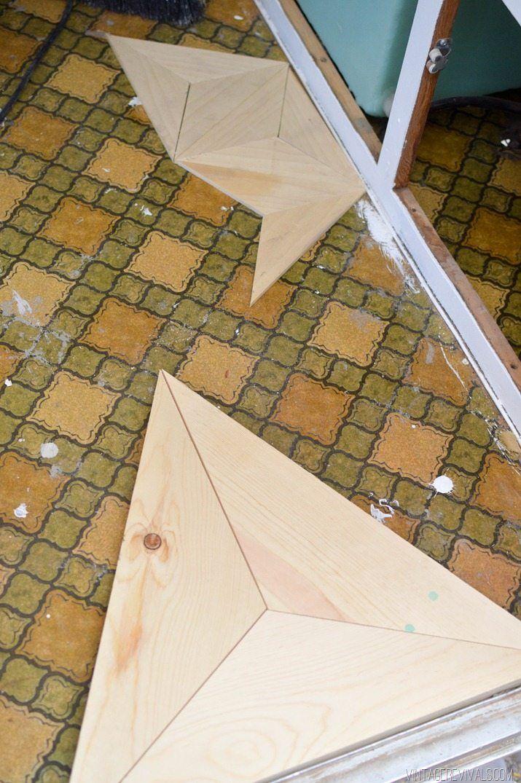 The Nugget: DIY Geometric Wood Flooring for $80!   Diy ...