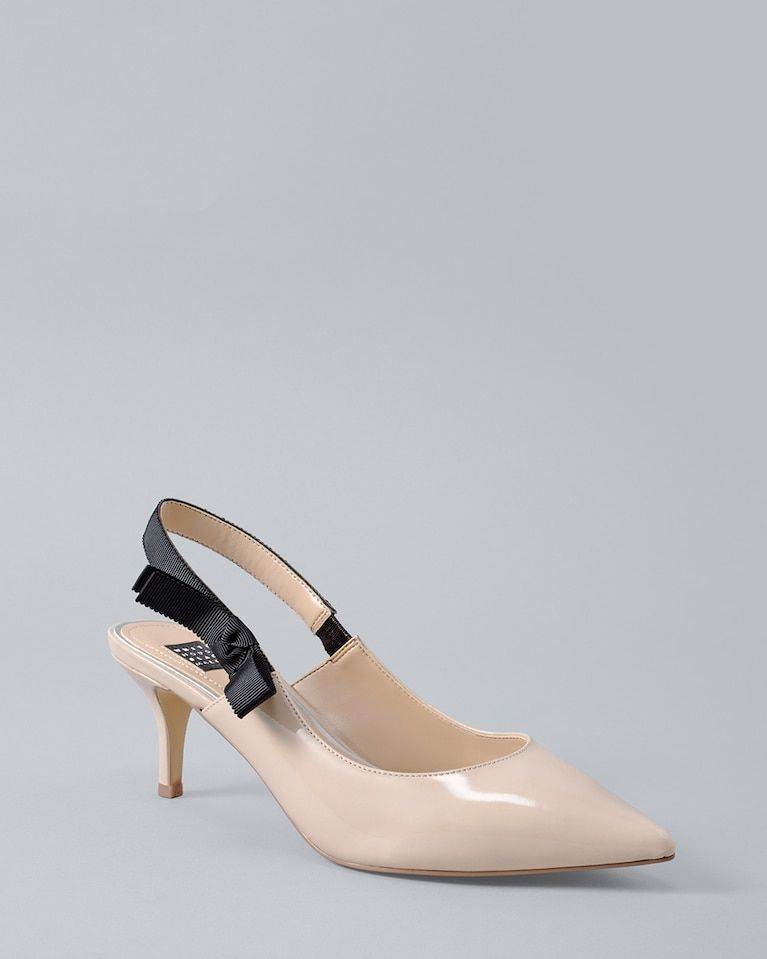 ee87047b034 Our glossy, neutral heels are finished by a matte-black grosgrain ...