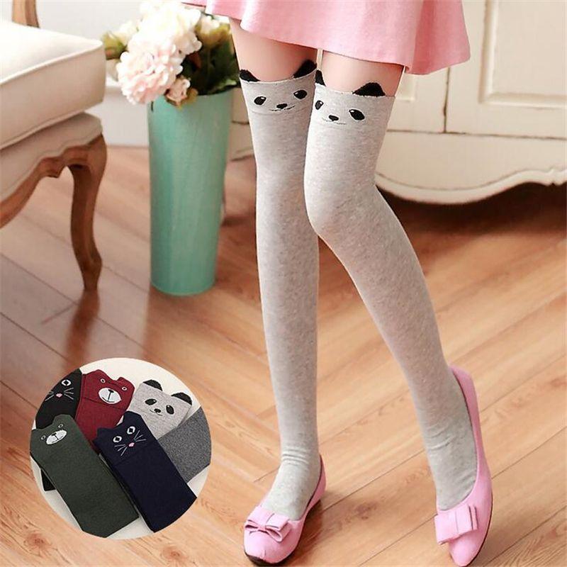 3ee0e85ff Cute Cartoon Cat Pure Cotton Stockings Women Thigh Socks Warm Fashion Thigh  High Over The Knee Socks Long Breathable Socks QR440.