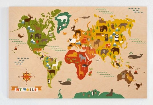 Petit collage my world jumbo wood panel is smart art for the petit collage jumbo wood panel my world petit collage jumbo wood panel my world earth map print picture poster wall gumiabroncs Gallery