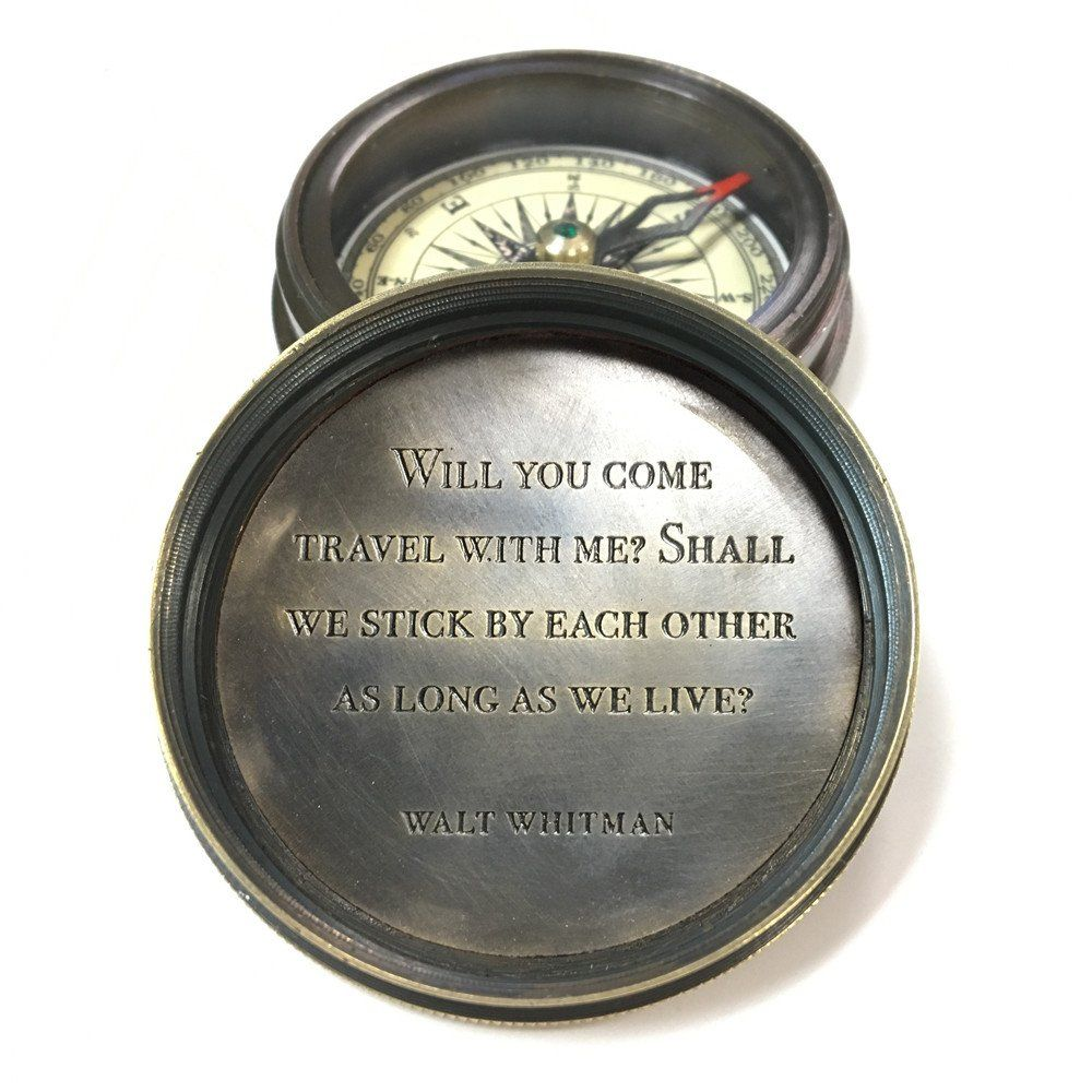 Watch Engraving Quotes: Engraved Compass - Walt Whitman