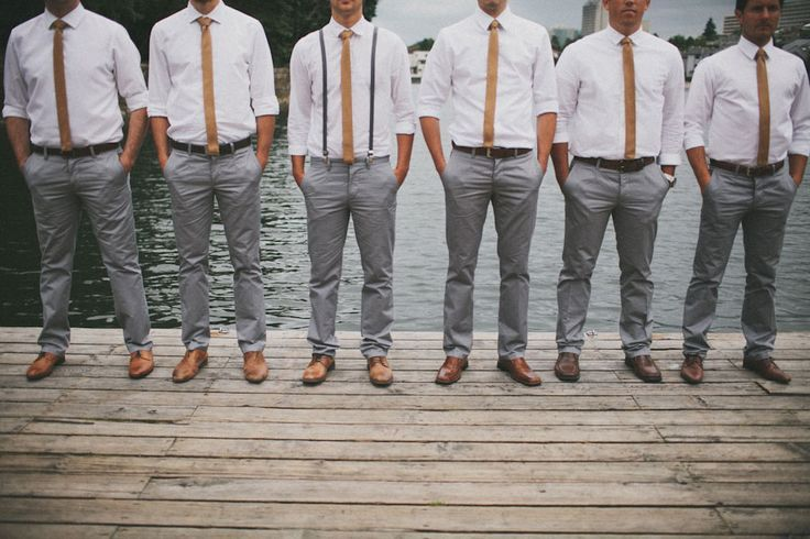 Groomsmen In White Shirts And Grey Trousers Casual Groomsmen