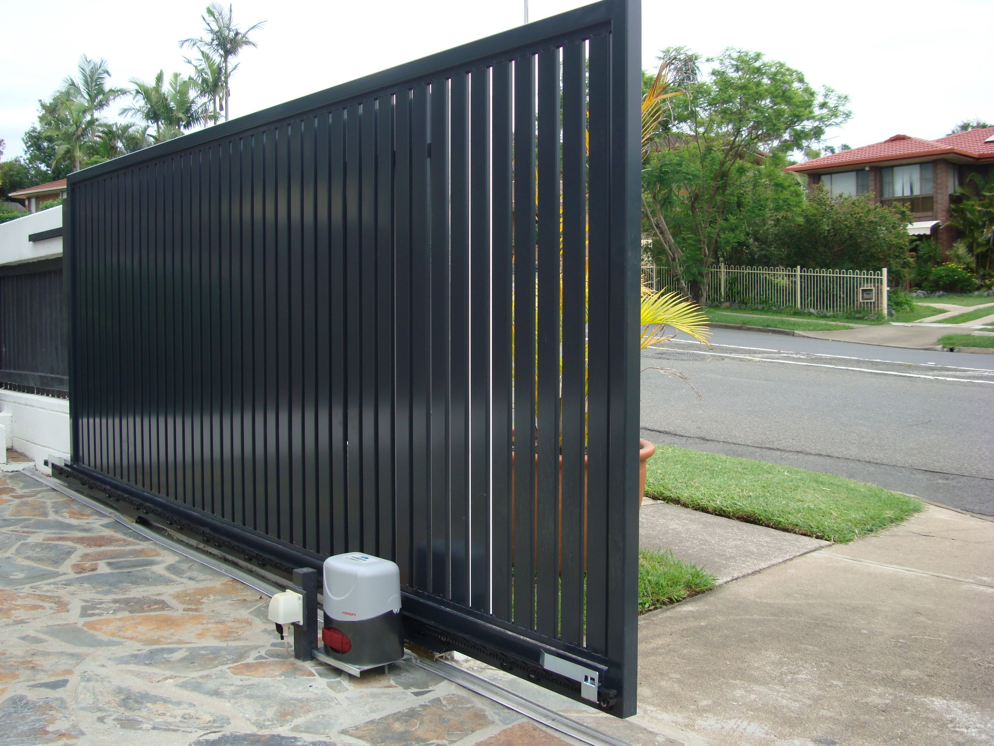 Sliding gates pictures image gallery brisbane automatic - Sliding main gate design for home ...