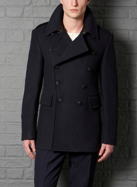 Collection Slim Fit Pea Coat Pictures - Reikian