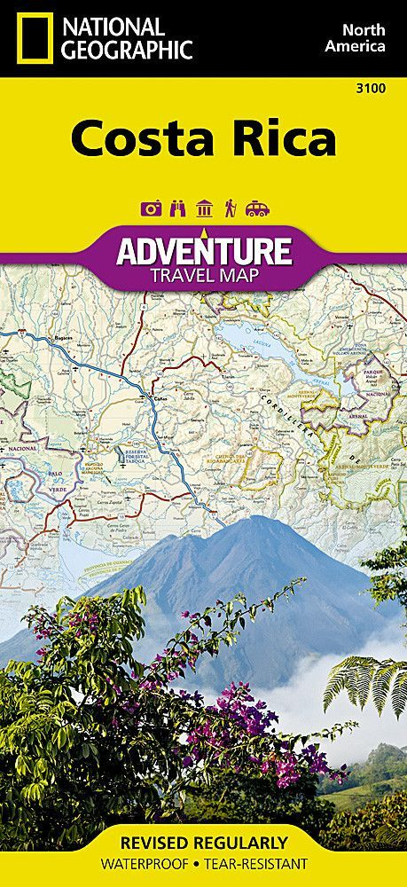 waterproof travel map of costa rica Costa Rica Adventure Map 3100 By National Geographic Maps Costa waterproof travel map of costa rica