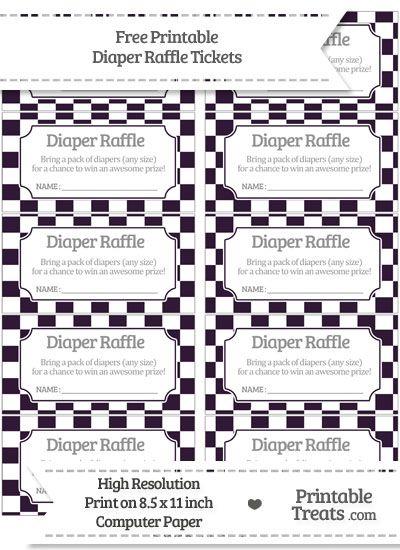 Free Dark Purple Checker Pattern Diaper Raffle Tickets