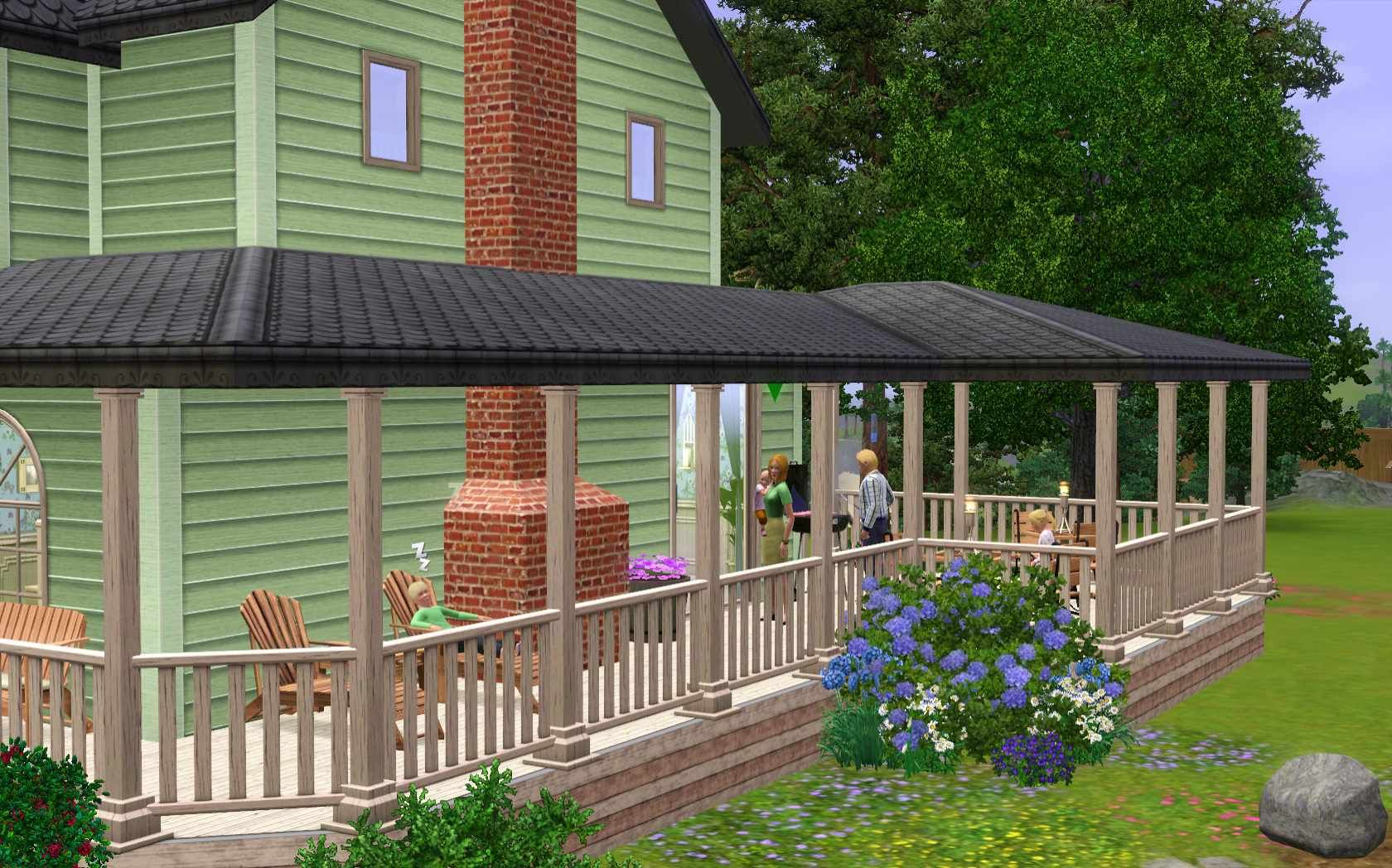Sims 3 - Wrap around porch | Sims 3 houses plans, House ...