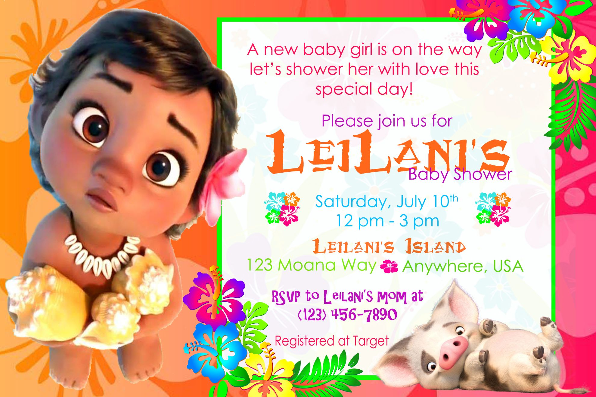Baby Moana Shower Invitation