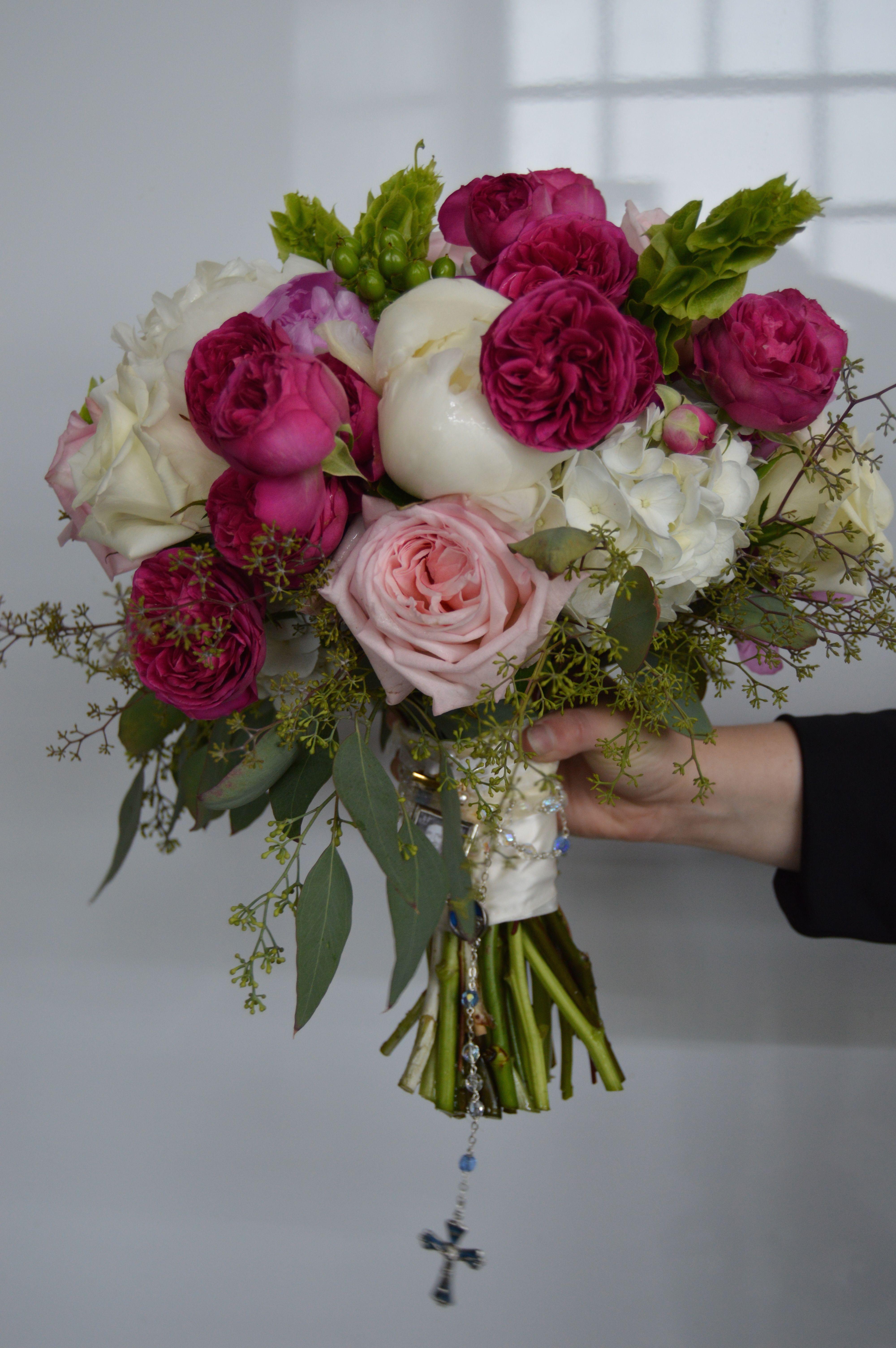 Stunning bouquet made from seeded eucalyptus, garden roses